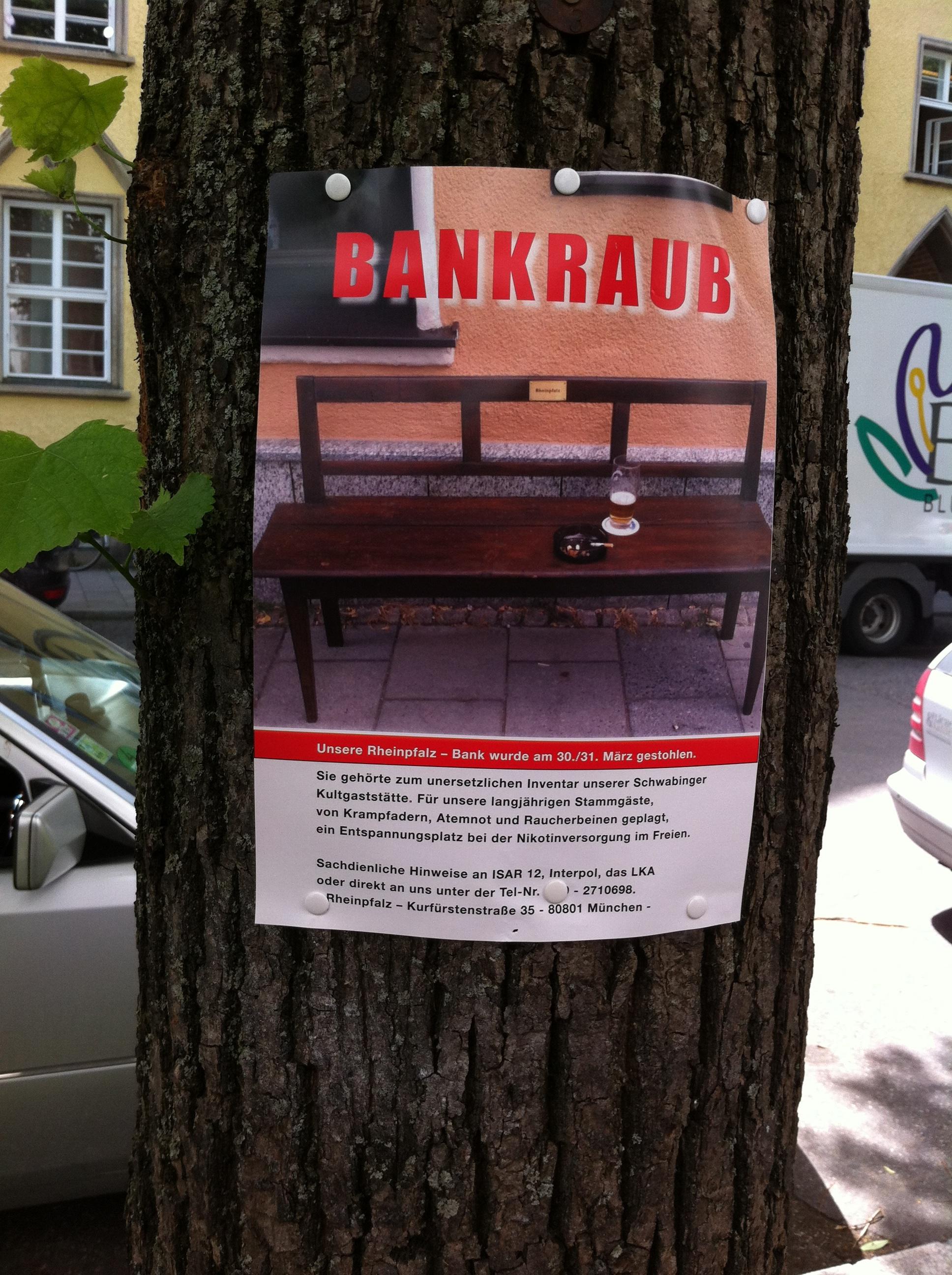 Bankraub – Eine Schwabinger Kultkneipe bittet um Mithilfe