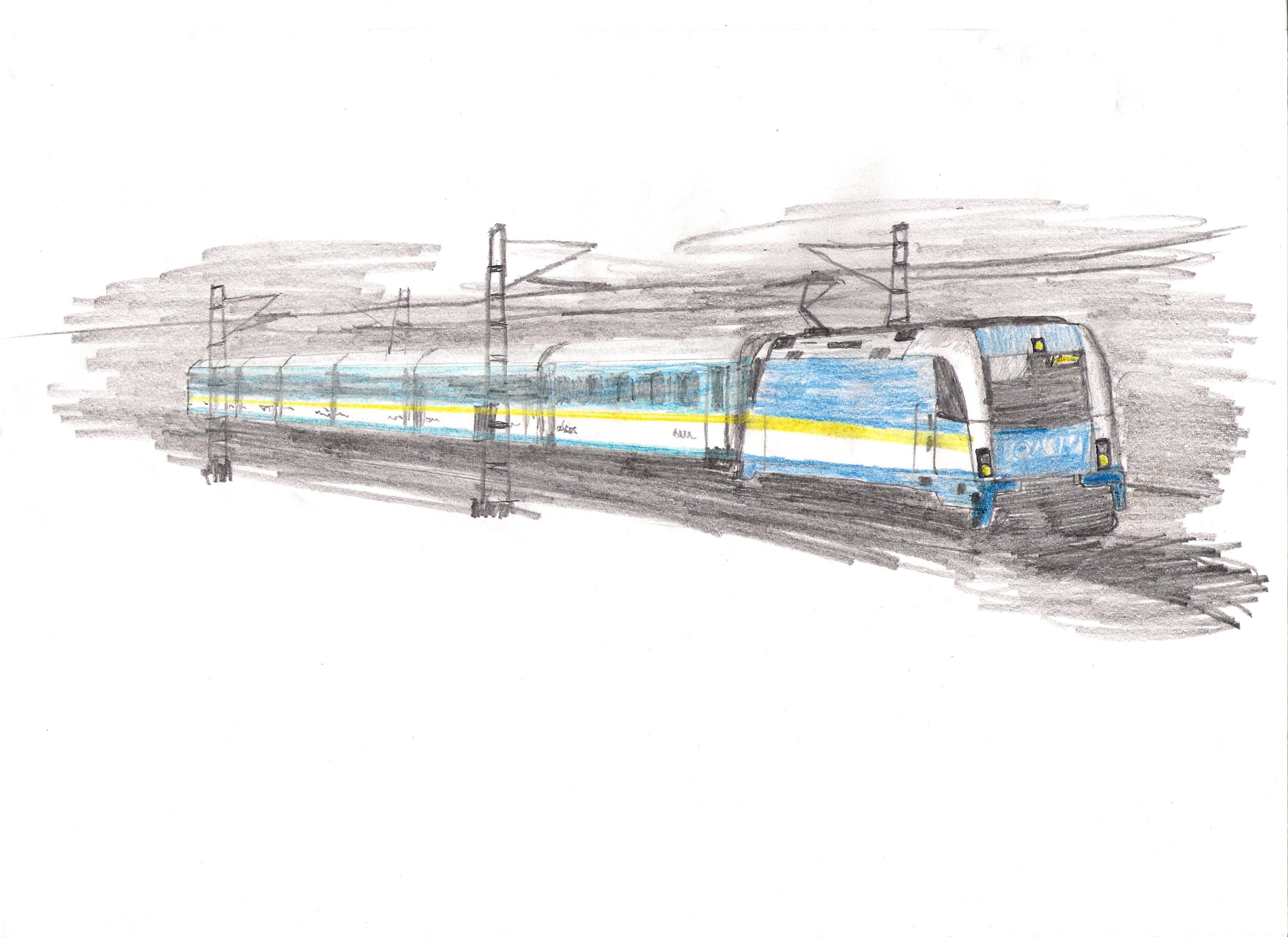 Farbige Zeichnung von einem ALEX Zug